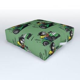 Cartoon racing riding lawnmower tractor popping a wheelie Outdoor Floor Cushion