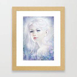 Ethereal - White as ice beatiful girl portrait Framed Art Print