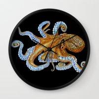 octopus Wall Clocks featuring Octopus by Tim Jeffs Art