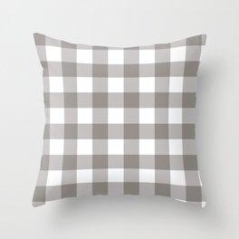 Grey & White Plaid Throw Pillow
