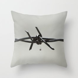 Spider on Barbed Wire in Black and White Throw Pillow