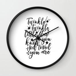 twinkle twinkle little star,nursery decor,kids room decor,kids gift,quote prints,love sign Wall Clock