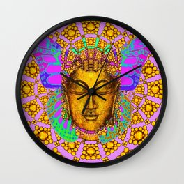 Noveau Butterfly Spirit In Pink-Gold-Purple Abstract Patterns Wall Clock
