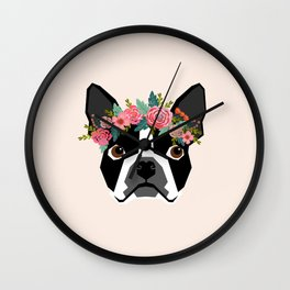 Boston Terrier dog breed with floral crown cute dog gifts pure breed Boston Terriers Wall Clock
