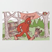sasquatch Area & Throw Rugs featuring Community Library (Sasquatch) by Spur Studios