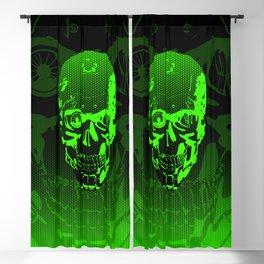 Gamer Skull CARTOON GREEN / 3D render of cyborg head Blackout Curtain