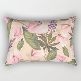 seamless  pattern with  flowers and leaves. Endless texture Rectangular Pillow