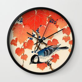 Vintage Japanese Bird and Autumn Grapevine Wall Clock
