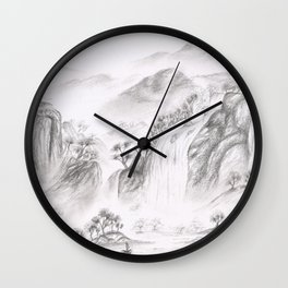 Waterfall over the mountains  Wall Clock