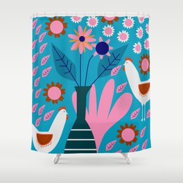 Hens in floral rain Shower Curtain