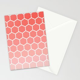 Coral pink gradient honey comb pattern Stationery Cards