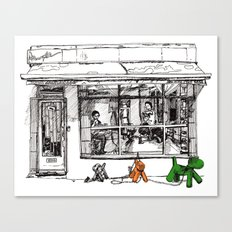 The Barber on Camden Passage Canvas Print