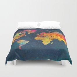 World Map blue #world #map Duvet Cover