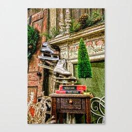 Antique Fireplace Decor Canvas Print