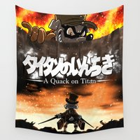 attack on titan Wall Tapestries featuring A Quack on Titan by ADobson