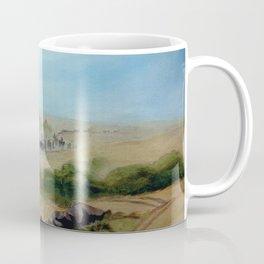 Passing Chimney Rock on the Dusty Oregon Trail Coffee Mug