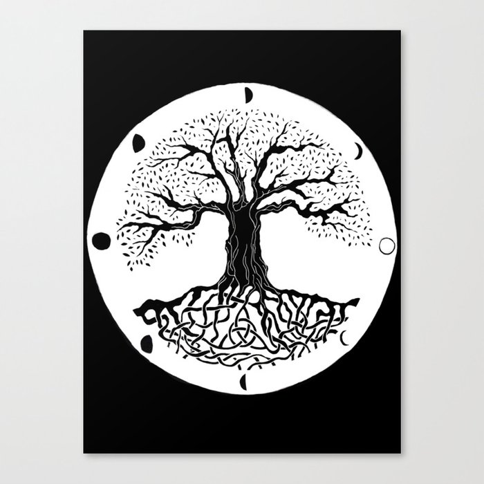 Black And White Tree Of Life With Moon Phases And Celtic Trinity Knot Iii Canvas Print By Vikkart