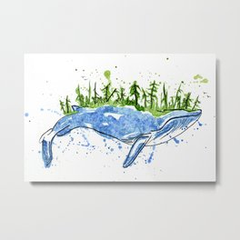 On the Shoulders of Giants- Blue Whale Island Metal Print