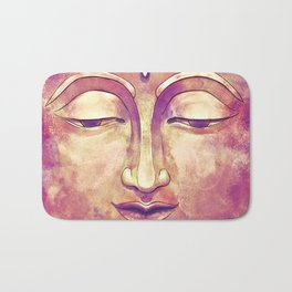 Trippy Buddha Face Painting in pink and orange for girls Bath Mat