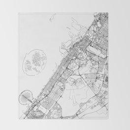 Dubai White Map Throw Blanket