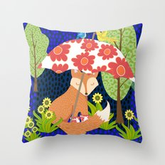 Fox in Galoshes at Night Throw Pillow