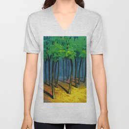 Sunset light in the forest Unisex V-Neck