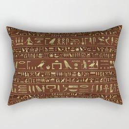 Egyptian hieroglyphs gold on brown leather Rectangular Pillow