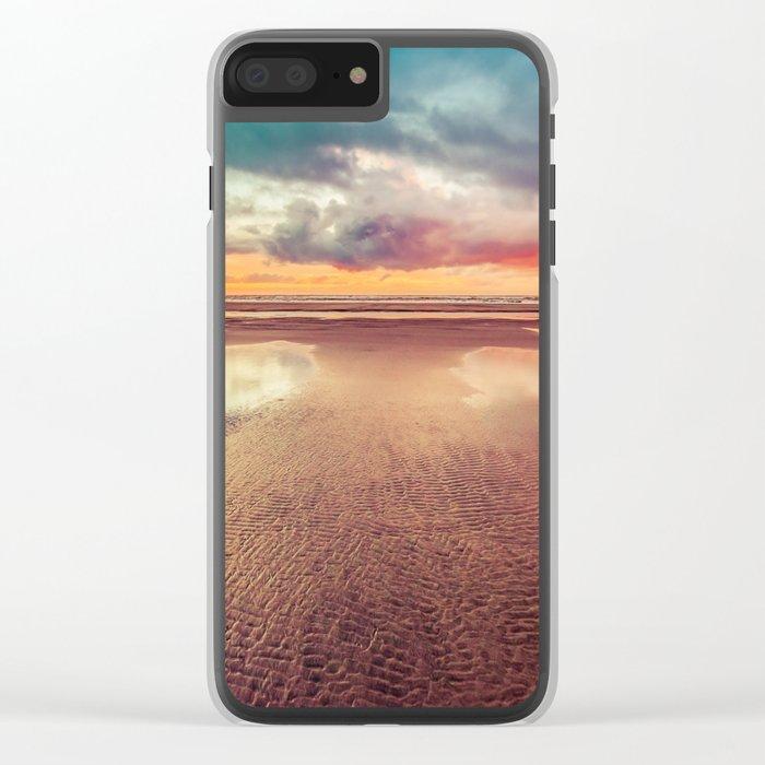 Beach Love Ocean Sunset Clear iPhone Case