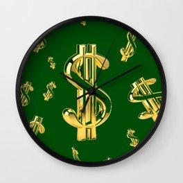 FLOATING GOLDEN DOLLARS IN GREEN ART DESIGN Wall Clock