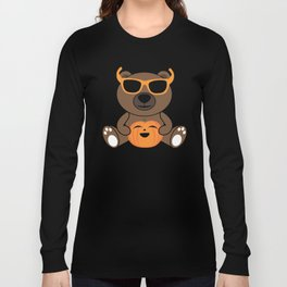 Cool Halloween bear holding pumpkin on Light Blue Long Sleeve T-shirt