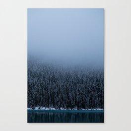 Foggy Lake Louise Shoreline Canvas Print
