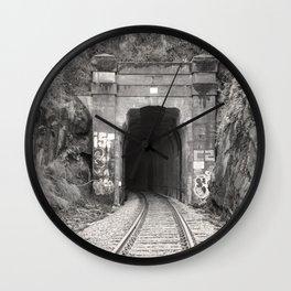 Bellingham Railroad Tunnel, Washington Trains, Northwest Landscape, Sepia Print Wall Clock