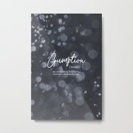 Gumption Definition - Word Nerd - Gray Bokeh Metal Print