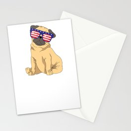 Pug Wearing USA America Sunglasses July 4th Stationery Cards