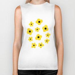 White Yellow Spring Flower Pattern Biker Tank