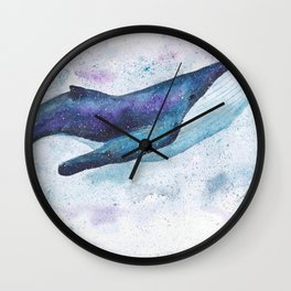 Big space whale illustration Wall Clock