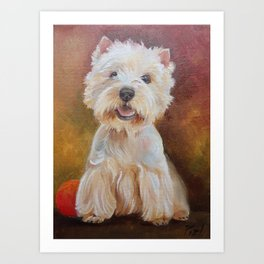 White Terrier Westie Dog portrait Oil painting on canvas Decor for Pet Lover Art Print