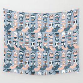 Knitting dog feelings I Wall Tapestry