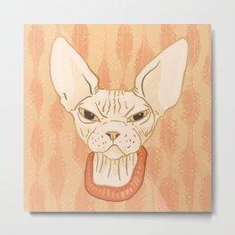 Grumpy Sphynx Cat - Hairless Kitty Illustration Metal Print