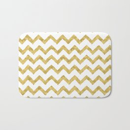 Chevron Gold And White Bath Mat