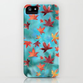 Dead Leaves over Cyan iPhone Case