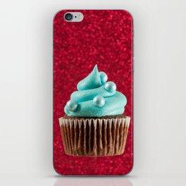 Cupcake Love | Aqua Swirl on Red Sparkle iPhone Skin