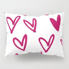 Lovely hearts - fuchsia heart pattern Pillow Sham