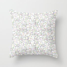 colorful scattered sewing pins Throw Pillow