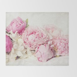 Peonies on white Throw Blanket