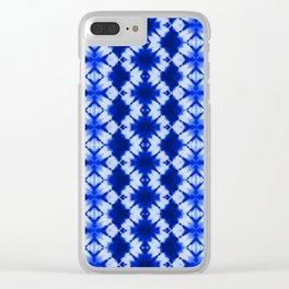 indigo shibori print Clear iPhone Case