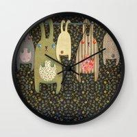 bunnies Wall Clocks featuring Bunnies by Florence Weiser