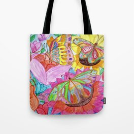 Colourful Butterfly among colourful flowers Tote Bag
