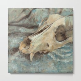 Animal Dog Skull Painting Blue, White and Beige Still Life Impressionist Art Metal Print