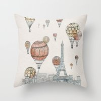 paris Throw Pillows featuring Voyages Over Paris by David Fleck